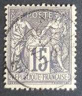 1876-1900, Sage, MLH, Pax And Mercur, 15c, Type Ll, Gris Foncé, France, Empire Française - 1876-1898 Sage (Type II)
