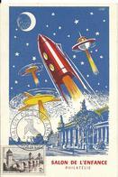 Carte Salon De L'enfance Philatélie , N°1039 Yt, Fusée, Engins Spatiaux, 3/11/1956, - Cartes-Maximum