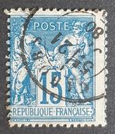 1876-1900, Sage, Pax And Mercur, 15c, Type Ll, Bleu Sur Bleu, France, Empire Française - 1876-1898 Sage (Type II)