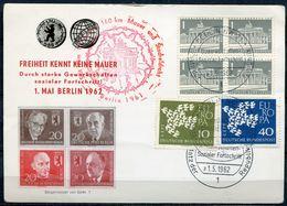 """Germany,Berlin 1962 Sonderbeleg BERLINER MAUER Mit Mi.367/68 Und Gesuchten Mauerstempel Und SST"""" Berlin """"1 Karte - BRD"""