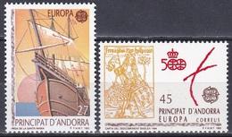 Andorra Spanisch Spain 1992 Europa CEPT Entdeckungen Amerika Schiffe Ships König King Ferdinand Aragonien, Mi. 226-7 ** - Unused Stamps