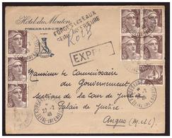 GANDON Bloc De 4 N°716 + 1Bande De 3 + 1 Sur Lettre EXPRES De FORGES LES EAUX Pour ANGUS Du 22.2.46. - Francia