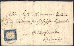 REGNO SARDEGNA FRANCOBOLLO C. 20 SU PIEGO DA CASTELLAZZO (AL) PER BANNIO DEL 3/6/1859 - SASSONE 15Ba (COBALTO OLTREMARE) - Sardegna