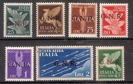 (Fb).R.S.I.1944.Serie Posta Aerea Soprastampata G.N.R.,nuova Con Traccia Di Linguella (561-16) - 4. 1944-45 Repubblica Sociale