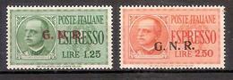(Fb).R.S.I.1944.Espressi Soprastampati G.N.R.,nuovi Con Traccia Di Linguella (562-16) - Posta Espresso