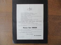 GROUGIS MONSIEUR HENRI DHIRSON DECEDE A LILLE LE JEUDI 23 MARS 1939 DANS SA 40e ANNEE - Décès