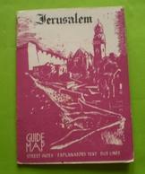 Jérusalem 1958 :map, Str.index, Bus Lines Guide ;explanatory Text; Publicités, Plan Avec Index Rues,places,bus .... - Culture