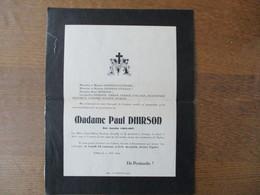GROUGIS MADAME PAUL DHIRSON NEE AUXILIA COLLART DECEDEE LE 8 AOÛT 1929 DANS SA 84e ANNEE - Décès