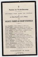 VP14.604 - MILITARIA - Faire - Part De Décès - Soldats Tombés Au Champ D'Honneur - Paroisse De VIC - DE - CHASSENAY - Décès