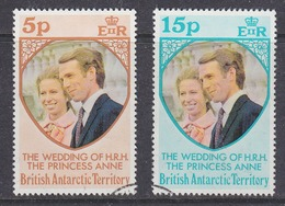 British Antarctic Territory (BAT) 1973 Royal Wedding Princess Anne 2v Used (42129) - Brits Antarctisch Territorium  (BAT)