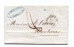 Lettre Cachet Bordeaux 8 Decimes + Rennes Morlaix  Nantes - 1849-1876: Période Classique