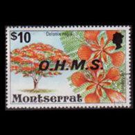 MONTSERRAT 1976 - Scott# O19 Flowers $10 CTO - Montserrat