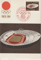 Japon Carte Maximum 1964 JO Tokyo Stade 787 - Cartoline Maximum