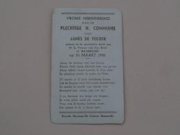 H. Communie Van Agnes De VIJLDER > Parochiale Kerk O.L.Vr V/d Briel Te BAASRODE Op 26 Maart 1950 ( Druk. Stevens ) ! - Communion