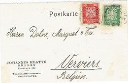 DR Perfin Firmenlochung Postkarte 1926 JOHANNES KLATTE BREMEN - Briefe U. Dokumente
