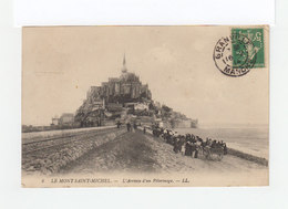 Sur Carte Postale Mont St Michelle Type Semeuse 5 C. Vert CAD Granville 1914. CAD Destination Quarante Hérault. (3234) - Marcophilie (Lettres)