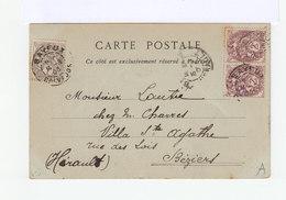 Sur Carte Postale Bayeux Types Blanc  Paire De 2 C. Brun Lilas Et Un 1 C. Gris. CAD Bayeux 1903. (1181x) - Marcophilie (Lettres)