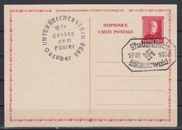 Sudeten 1938 Befreiungs-o 2 Mit Wir Danken Dem Führer Und Stubenbach Böhmerwald Auf CSR-Ganzsache - Sudetenland