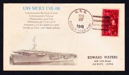"""US Navy, USS """" SICILY"""" (CVE-118)1948,"""" Photo-Cachet"""" !! LOW PRICE !! Look Scan !! 14.11-94 - Boten"""