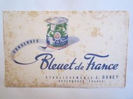 Publicité Buvard Buvards Bleuet De France établissement J Duvet Hazebrouck Concerves - Alimentaire