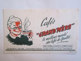 Publicité Buvard Buvards Cafés Grand Mère Rue Pierre Motte Roubaix - Alimentaire