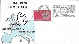 Env Fdc France, 9/5/1970,  N°1637 Yt,  Jumelage Entre Nogent Sur Oise Et Gersthofen  Bavière, Armoirie, Carte Europe - 1970-1979