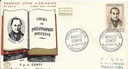 Env Fdc France, 14/9/1957montpellier N°1121 Yt, Auguste Comte, Philosophe - 1950-1959