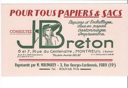 BUVARD   PAPIERS ET SACS  J BRETON   **** A   SAISIR  **** - Papeterie