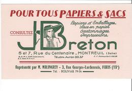 BUVARD   PAPIERS ET SACS  J BRETON   **** A   SAISIR  **** - Papierwaren