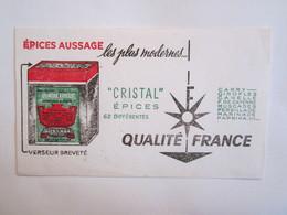 Publicité Buvard Buvards épices Aussage Cristal épices - Alimentaire