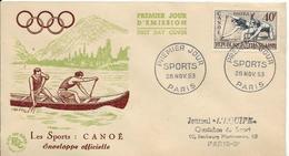 Env Fdc France, 28/11/1953 Paris N°963 Yt, Sports, Canoë - FDC