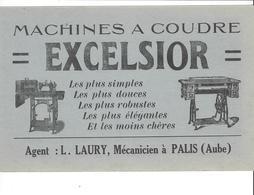 BUVARD   MACHINES A COUDRE  EXCELSIOR   AUBE ****     A   SAISIR  **** - Textile & Vestimentaire