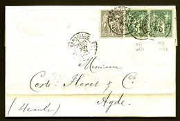 LET 1- LETTRE TIMBRAGE TYPE SAGE- PAIRE N° 64 VERT N/B + 15 Ct N° 77b N/U- CAD AVEC LEVÉE T18- 4 SCANS - Postmark Collection (Covers)