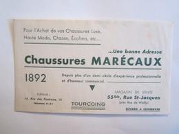 Publicité Buvard Buvards Chaussures Marécaux Tourcoing - Chaussures