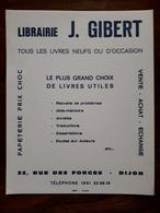 L18/45 Buvard. Librairie J. Gibert. Dijon - Blotters