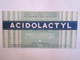 Publicité Buvard Buvards Acidolactyl - Produits Pharmaceutiques
