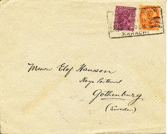 India Cover Sent To Sweden KARACHI 1934 - India (...-1947)