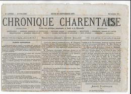 """1875 - CERES 1c  Sur JOURNAL NON POLITIQUE """"CHRONIQUE CHARENTAISE"""" COMPLET ! - Postmark Collection (Covers)"""