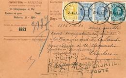 Belgique. TP 205, 207 (x 2) + 208  Carte Récépissé  Gent  1927   Bon à Payer, Compensation Poste - 1922-1927 Houyoux
