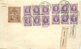 Belgique. TP 198 (x 12)   Reçu 396 Fr  Jemeppe-sur-Sambre  1925  Double Présentation, Absent - 1922-1927 Houyoux