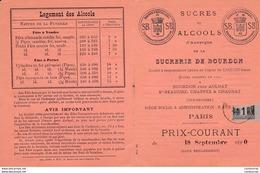 63 AULNAT Puy De Dome TARIF 1890  SUCRERIE  DE BOURDON  A75  Sucres Alcools D' Auvergne  Près CLERMONT FERRAND - 1800 – 1899