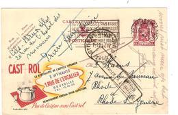 PR6377/ Entier CP Publibel 672 C.BXL Midi +flamme 1947 V.Rhode St.Genèse C.Retour +c.Rhode St.Genèse Woon Niet Meer ... - Entiers Postaux