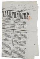 """1874 - CERES 2c  Sur JOURNAL NON POLITIQUE """"JOURNAL De VILLEFRANCHE"""" (RHONE) - FEUILLE COMPLETE ! - 1849-1876: Periodo Clásico"""