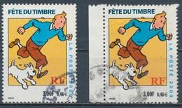 France - Fête Du Timbre 2000 - Tintin YT 3303 + 3303a Obl. - France