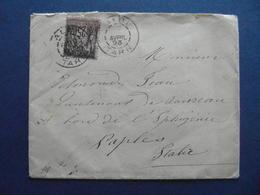 OBLITERATION CAD ALBI Avec VARIÉTÉ De BLOC DATEUR SANS DATE (TARN) 1893 Sur ENVELOPPE SAGE 25c NAPLES ITALIE DAGUIN ? - Marcophilie (Lettres)
