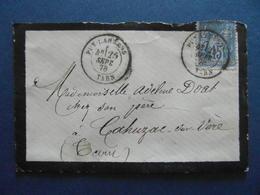 OBLITERATION CAD PUY-LAURENS PUYLAURENS (TARN) 1878 Sur ENVELOPPE AFFRANCHIE SAGE 15c Pr CAHUZAC SUR VERE - Postmark Collection (Covers)