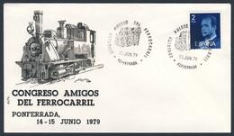 """Spain Espana 1979 Cover / Brief / Envelope - Congreso """"Amigos Del Ferriocarril"""", Ponferrada / Kongress - Treinen"""