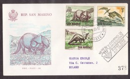 YN101   San Marino, Circuled Card FDC 1965  Dinosaur Prehistoric Animals - Preistoria