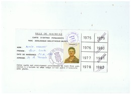 VILLE DE MAUBEUGE CARTE DE TRANSPORT PERSONNELLE - Titres De Transport