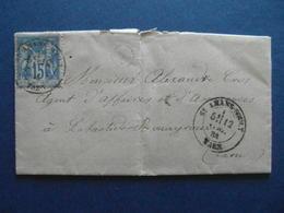 OBLITERATION CAD SAINT ST AMANS SOULT (TARN) 1884 Sur LETTRE AFFRANCHIE SAGE 15c Pour LABASTIDE ROUAIROUX BOITE RURALE - Marcophilie (Lettres)